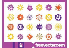 Conjunto de ícones de flores florais