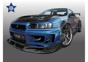 Blue Nissan Skyline vector