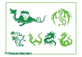 Drachen Vektorgrafiken Set