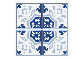 Delft Azul Floral Azulejos Vector