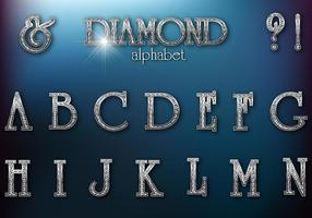 Diamond Studded Retro Alfabet Vector