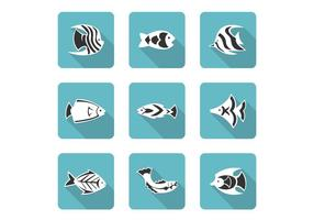 Stylized Fish Icons Vector Set