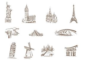 Drawn Famous Landmarks Vectors