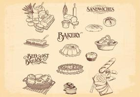 Hand Drawn Bakery Bread Vectors