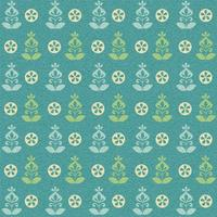 Teal Green Retro Flower Vector Patroon