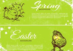 Grungy Spring Easter Banner Vectors