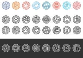 Sketchy Drawn Social Media Ikoner Vector Pack