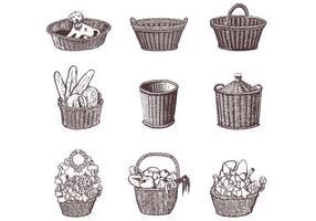 Drawn Wicker Baskets Vector Set