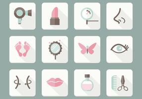 Platte Beauty Care Pictogrammen Vector Set