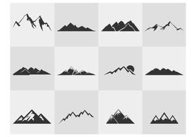 Insieme di vettore delle siluette della montagna