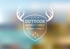 Outdoor-badge-on-blurred-landscape-vector