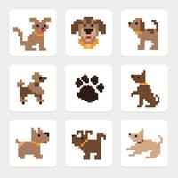 Pixel Dog Pictogrammen Vector Set