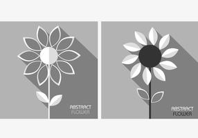 White Grey Abstract Flowers Vector Pack