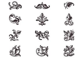 Swirly Scroll Ornaments Vector Set