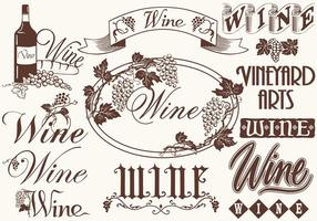 Vintage Wine Elements Vectors