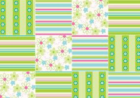 Flowers and Stripes Seamless Patchwork Vector Pattern