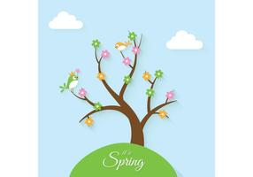 Flat Spring Background Vector
