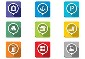 Folded-flat-map-pointer-icons-vector-set
