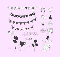doodle party elements vector ensemble
