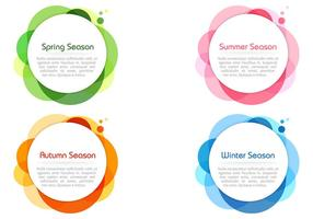 Seasonal Colors Bubble Banners PSD Vector