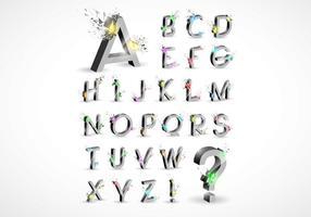3D-explosie Alfabet Vector Set