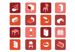 3D Furniture Icons Vector Set