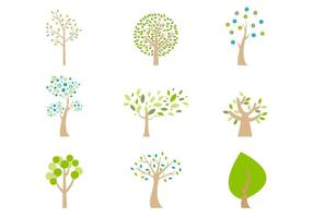 Abstracte Cartoon Bomen Vector Pack