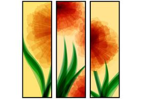 Abstract Red Flower Banners Vector Set