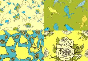 Teatime Bird and Floral Vector Patronen
