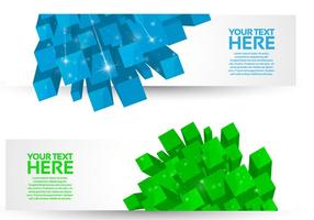Bright 3D Cube Banners Vector Set