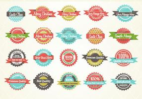 Retro Patterned Label Set Vector