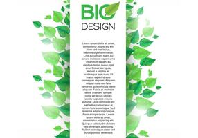 Vertical Green Leaf Banner Background Vector