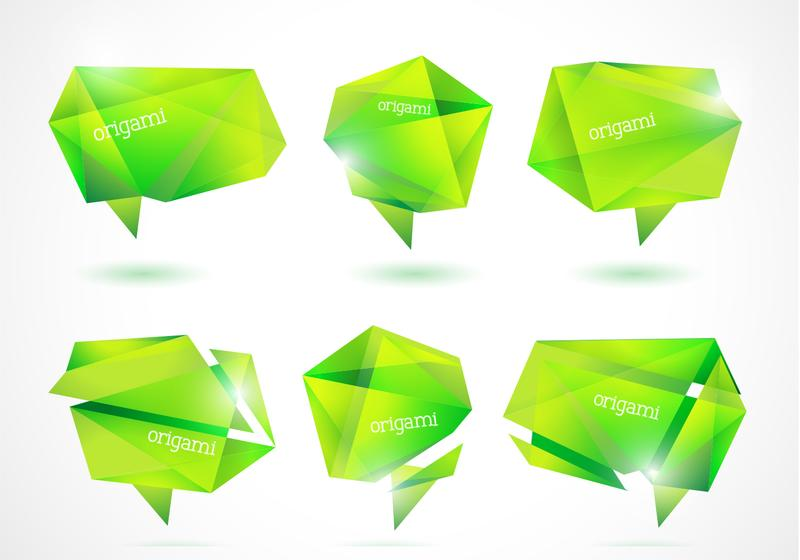Fresh Green Origami Banners Vector Pack