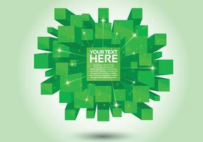 Fundo verde do vetor cubo 3D