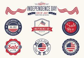 4th of July Badges Vector Set