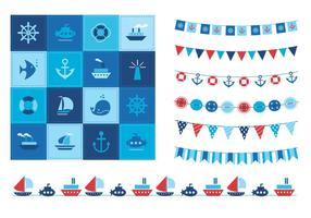 Summertime Ocean Icons and Buntings Vector Set