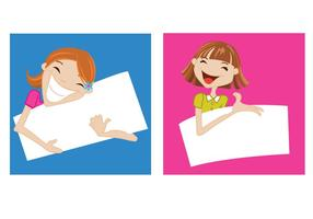 Happy-girls-holding-banners-vector-set