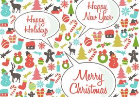 Retro Happy Holidays Vector Background