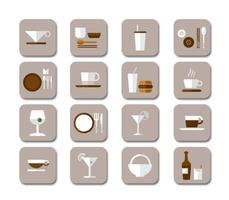 Flat Drink Icons Vector Collection