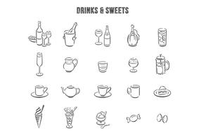 Hand Drawn Drinks Desserts Vector Set