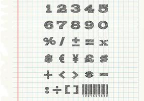 Sketchy Numbers Vectors Set