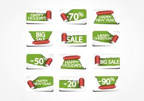 Torn Paper Holiday Labels Vector Pack