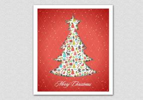 Red Patterned Christmas Tree Vector Background