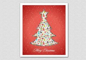 Fundo vermelho do vetor da árvore de Natal modelada