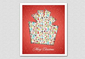Red Patterned Christmas Gift Vector Background