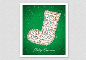 Green Patterned Christmas Stocking Vector Background