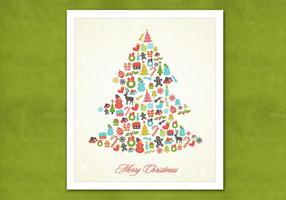 Retro Kerstboom Vector Achtergrond