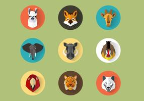 Animal Portraits Vector Set