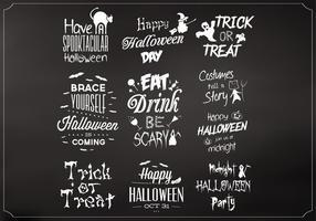 Chalkboard Halloween Elements Vector