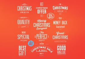 Retro Christmas Badges Vector Set